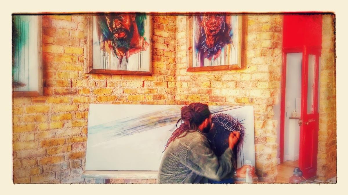 Erik Olivera working on a new piece.